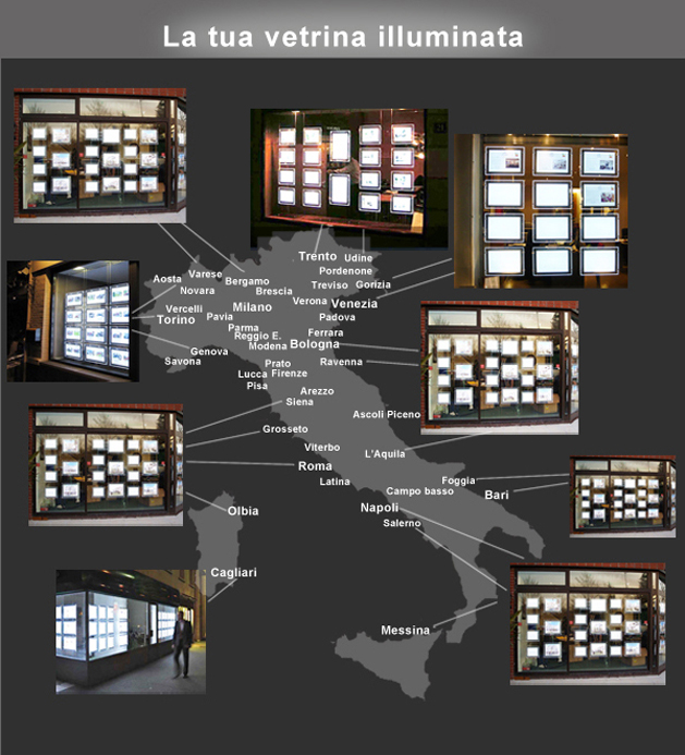 Prezzi pannelli luminosi led espositori pubblicitari vetrine agenzie immobiliari viaggi uffici - Agenzie immobiliari a torino ...